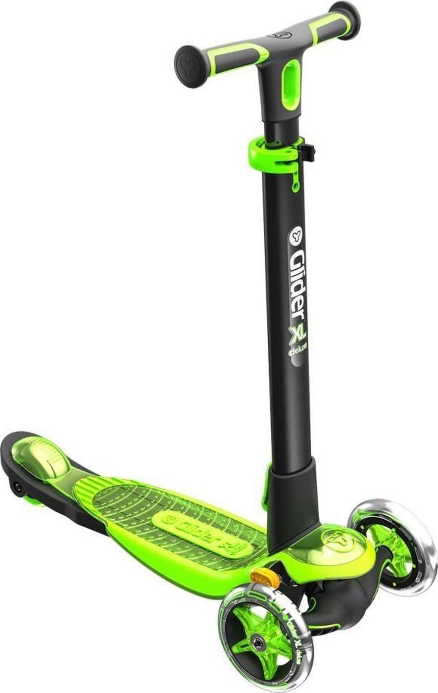 Купить Самокат YVolution Y Glider XL Deluxe, черно-зеленый,
