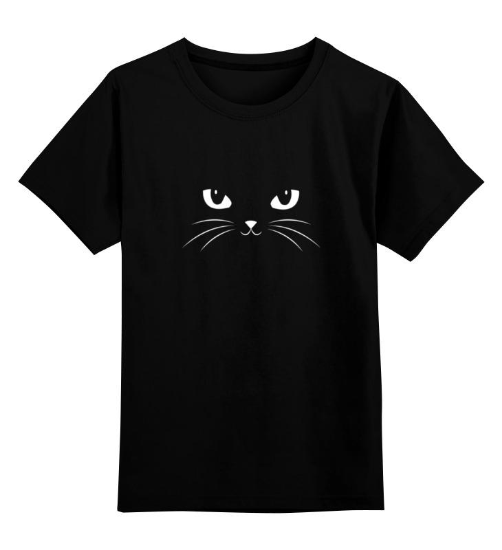 Купить 0000000785889, Детская футболка Printio Black cat черная кошка цв.черный р.128,