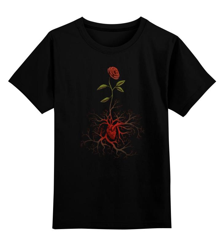 Купить 0000000779547, Детская футболка Printio Роза и сердце цв.черный р.128,