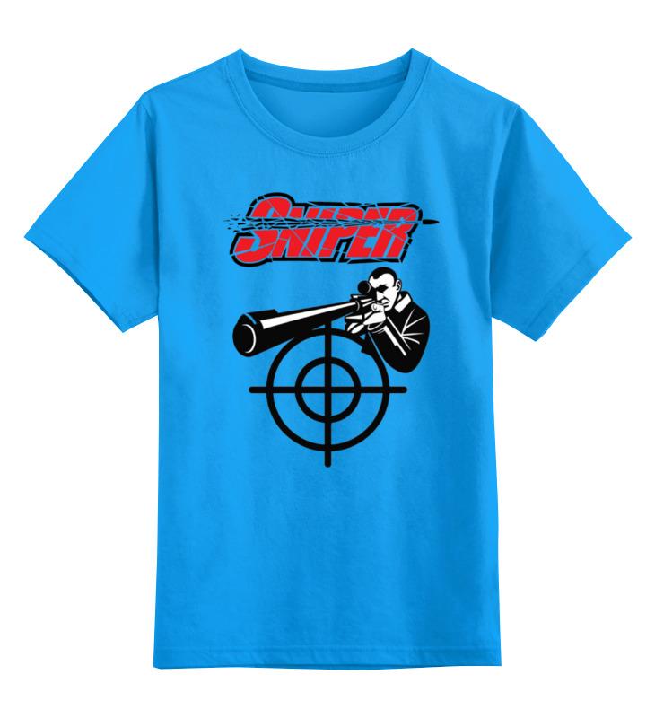 Купить 0000000771560, Детская футболка Printio Sniper цв.голубой р.128,