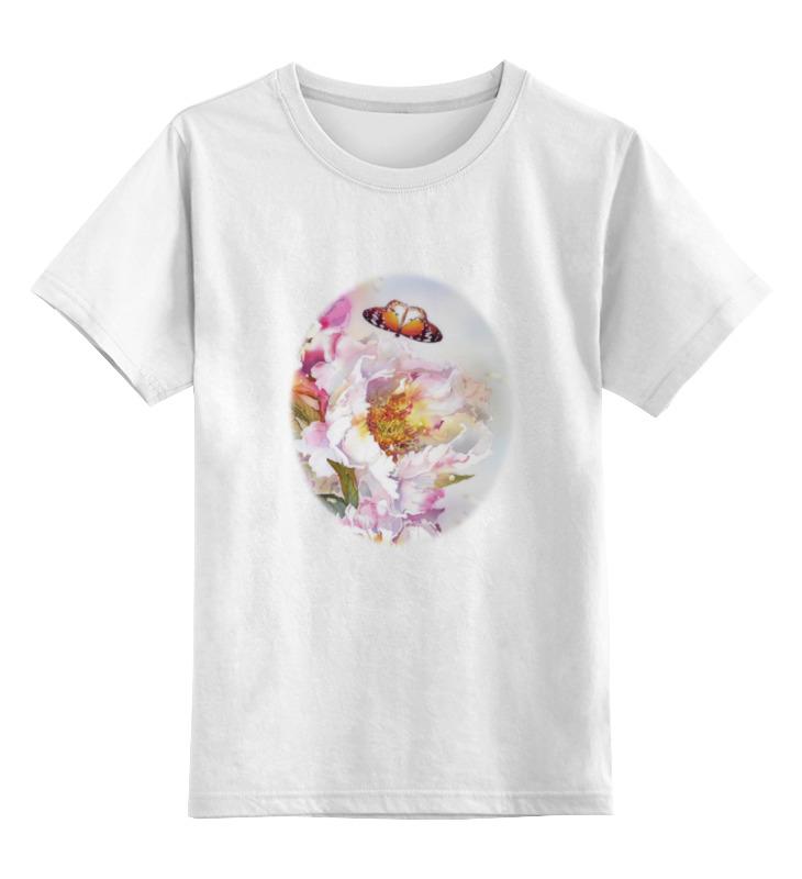 Детская футболка Printio Пионы и бабочки 2 цв.белый р.128 0000000771547 по цене 729