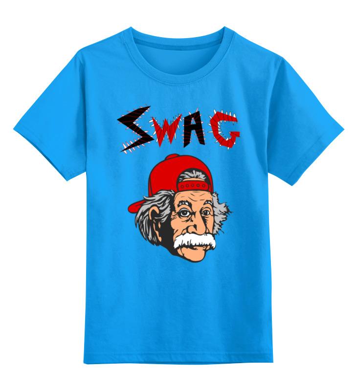 Купить 0000000769629, Детская футболка Printio Art swag цв.голубой р.128,