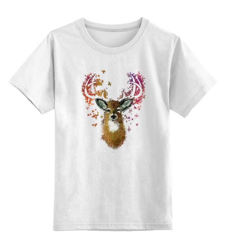 Купить 0000000784467, Детская футболка Printio Олень цв.белый р.140,