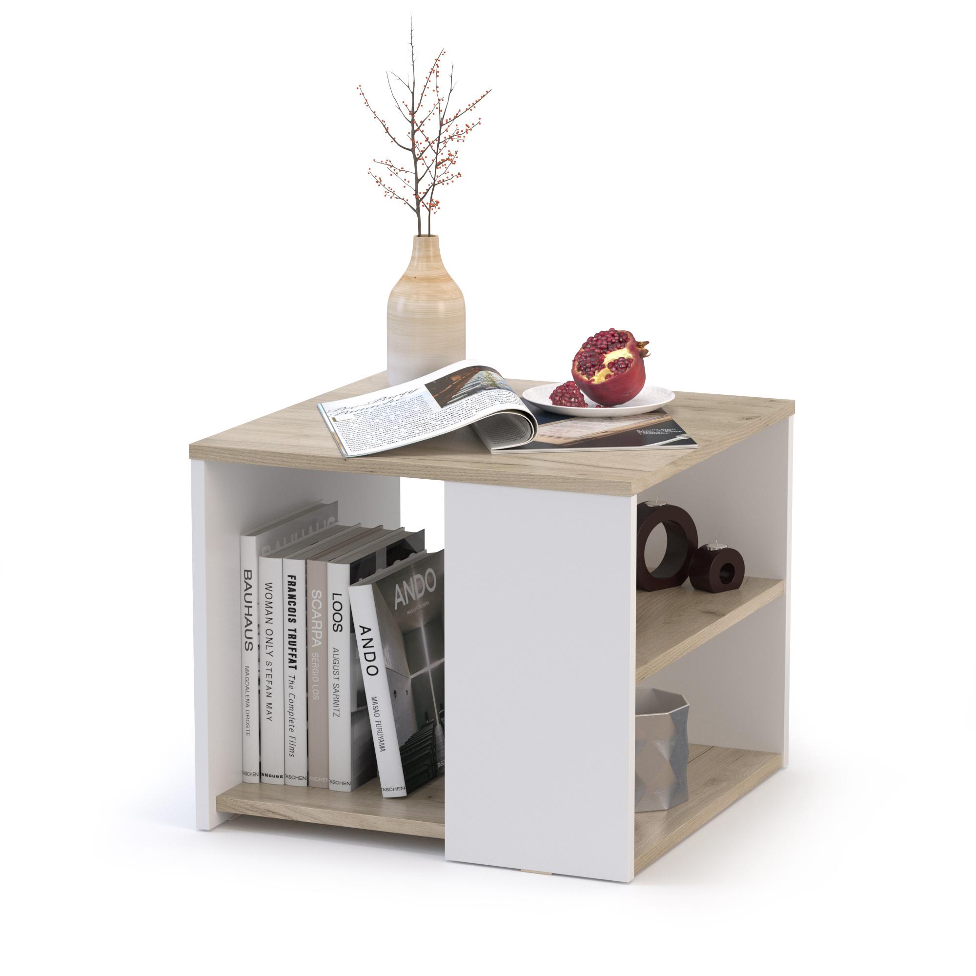 Стол журнальный Mobi Сайд 03.237 50х50х42,3 см дуб крафт серый/белый премиум