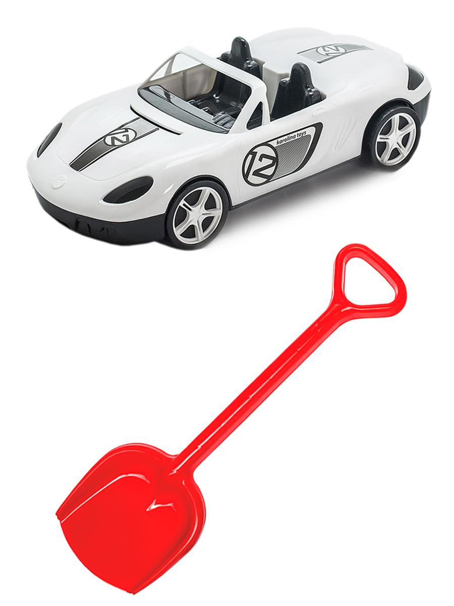 Купить Набор для песочницы Karolina Toys автомобиль (Кабриолет) белый + Лопатка 50 см.,
