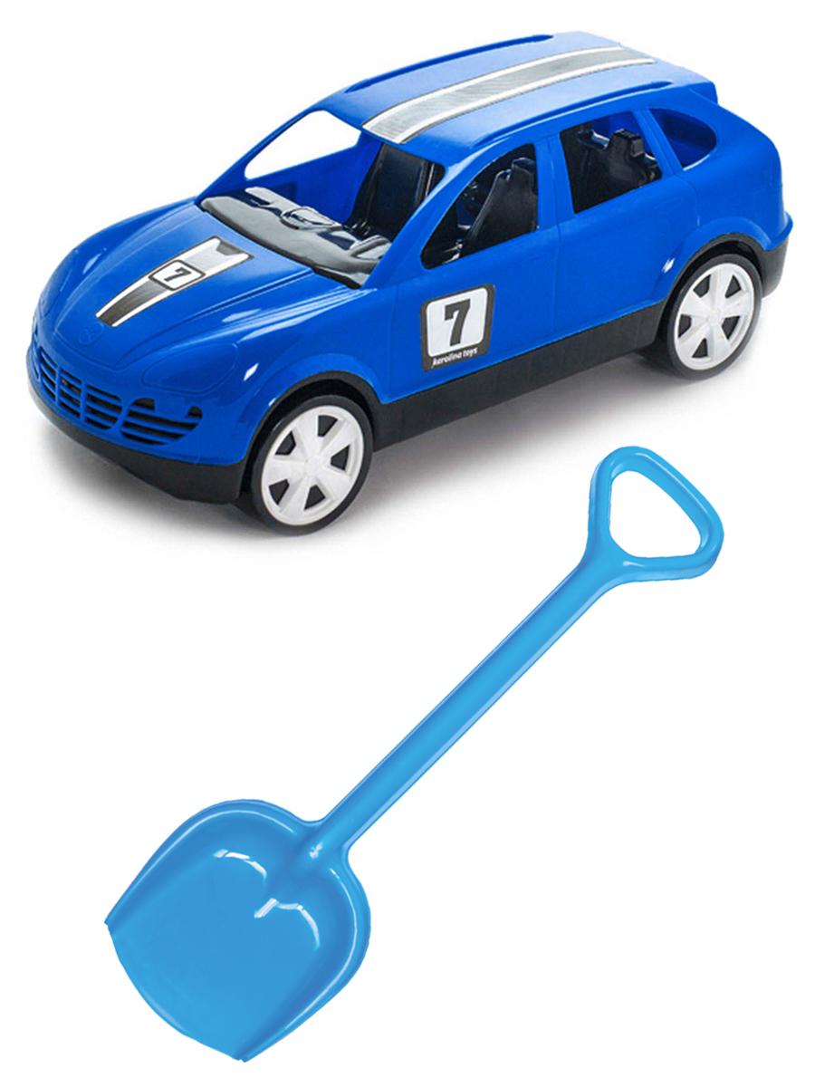 Купить Набор для песочницы Karolina Toys автомобиль Кроссовер синий + Лопатка 50 см. синяя,