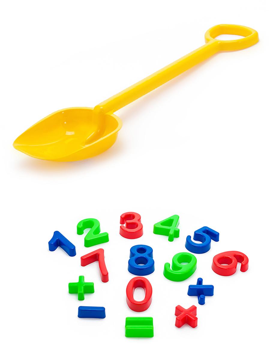 Купить Набор для песочницы Karolina Toys Арифметика + Лопатка 50 см. желтая,
