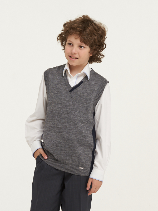 Купить 183-7098_серый, Жилет для мальчиков 183-7098 VAY цв.серый р.128,