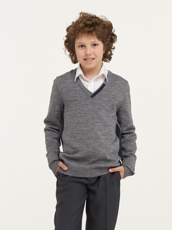 Купить 183-7097_серый, Джемпер для мальчиков 183-7097 VAY цв.серый р.128,