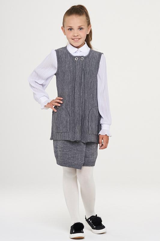 Купить 183-7115_серый, Жилет для девочек 183-7115 VAY цв.серый р.128,