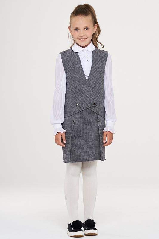 Купить 183-7114_серый, Жилет для девочек 183-7114 VAY цв.серый р.128,