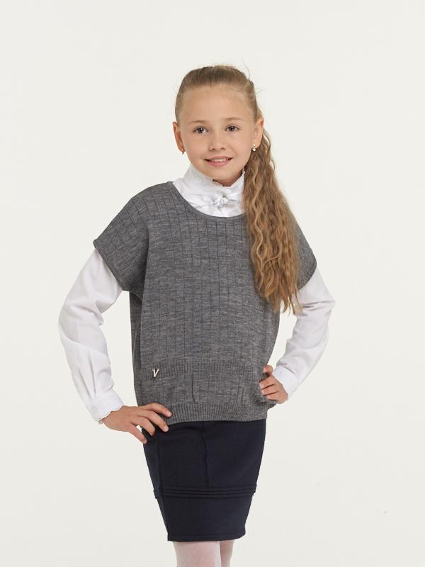Купить 183-7113_серый, Жилет для девочек 183-7113 VAY цв.серый р.128,