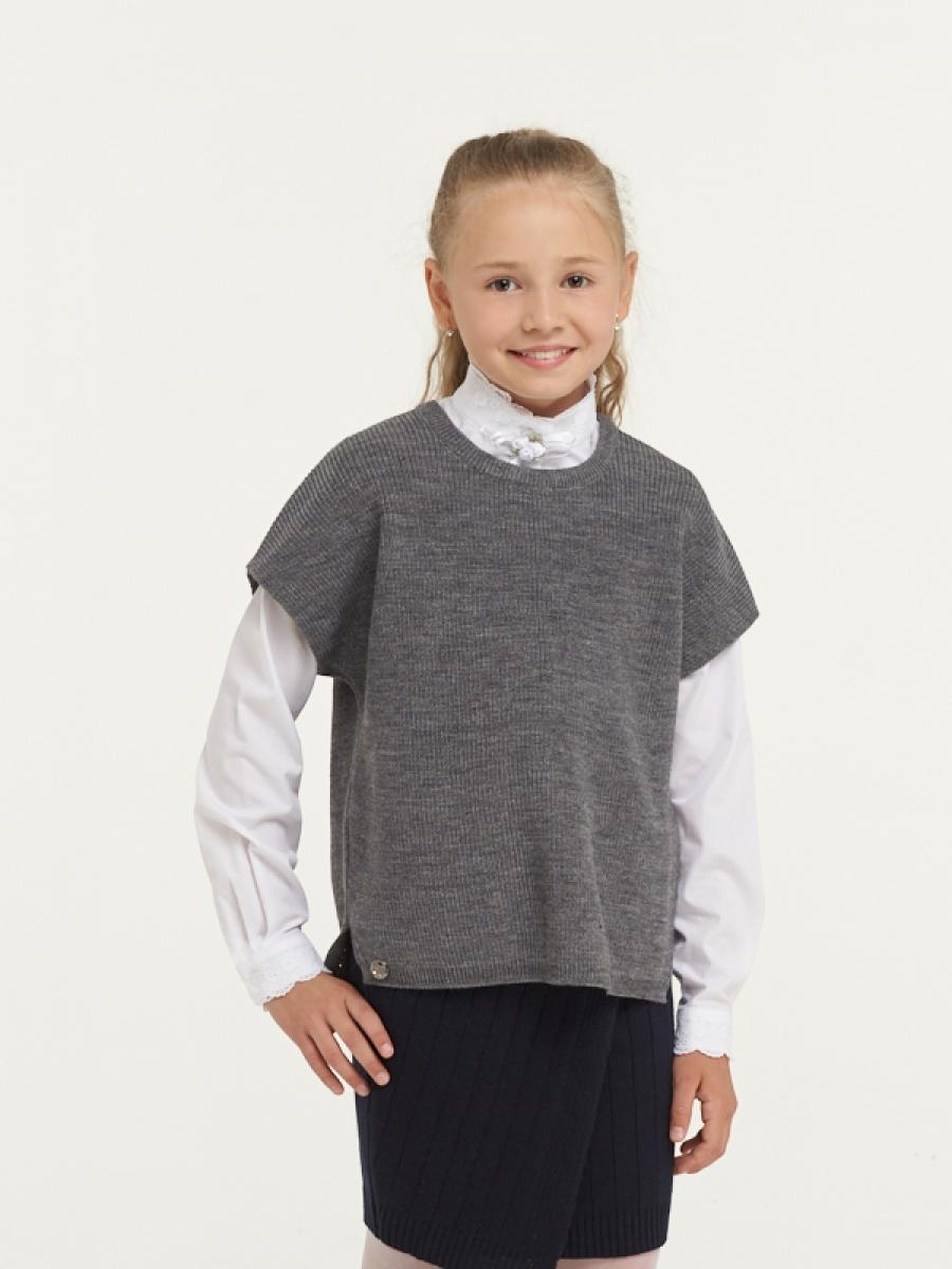 Купить 183-7112_серый, Жилет для девочек 183-7112 VAY цв.серый р.128,