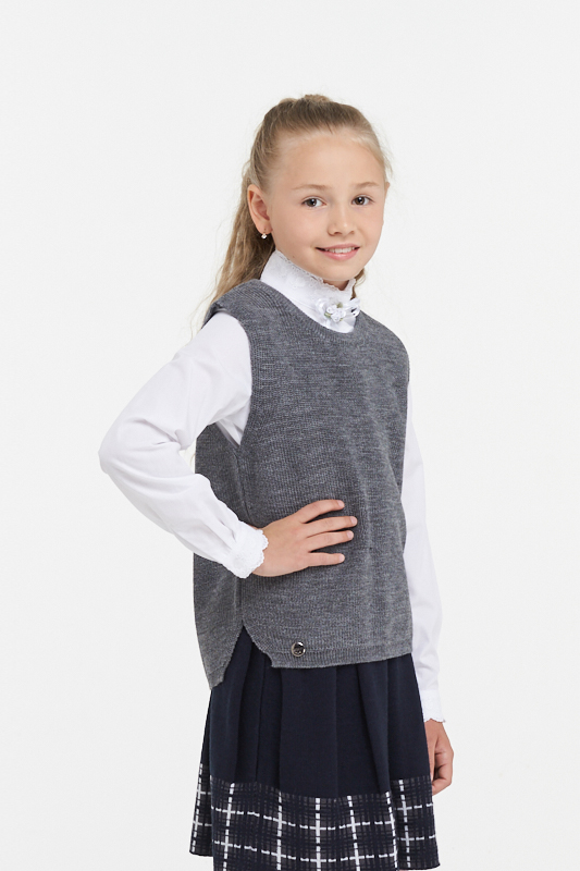 Купить 183-7111_серый, Жилет для девочек 183-7111 VAY цв.серый р.128,