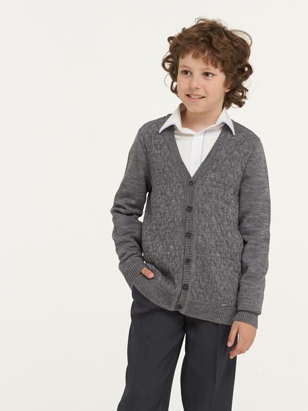Купить 183-7101_серый, Жакет для мальчиков 183-7101 VAY цв.серый р.128,