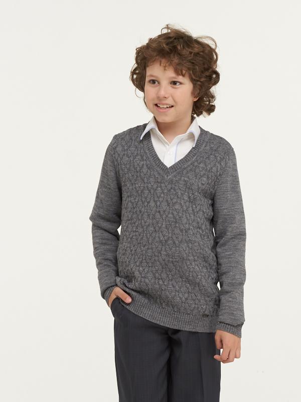 Купить 183-7100_серый, Джемпер для мальчиков 183-7100 VAY цв.серый р.128,
