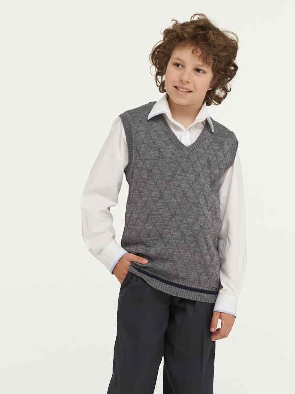 183-7095_серый, Жилет для мальчиков 183-7095 VAY цв.серый р.128,  - купить со скидкой