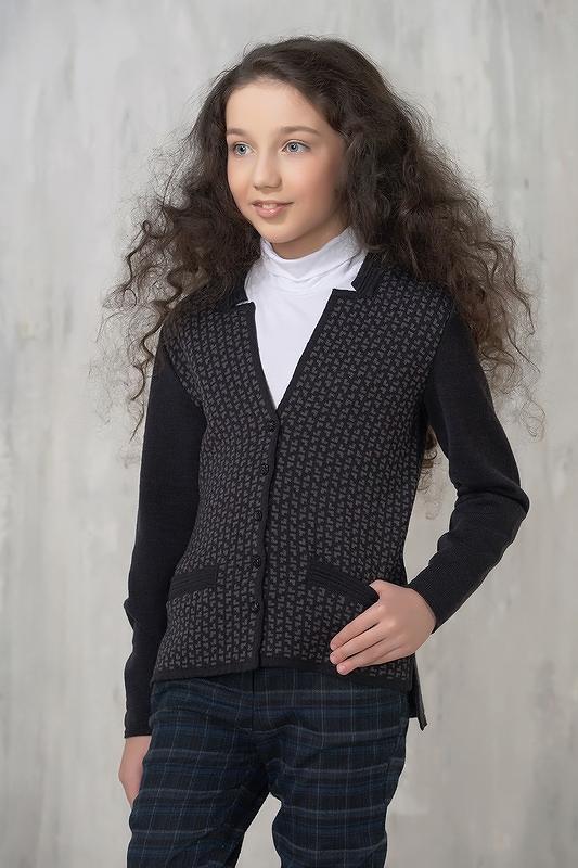 Купить 7073_серый, Жакет для девочек 7073 VAY цв.серый р.140,