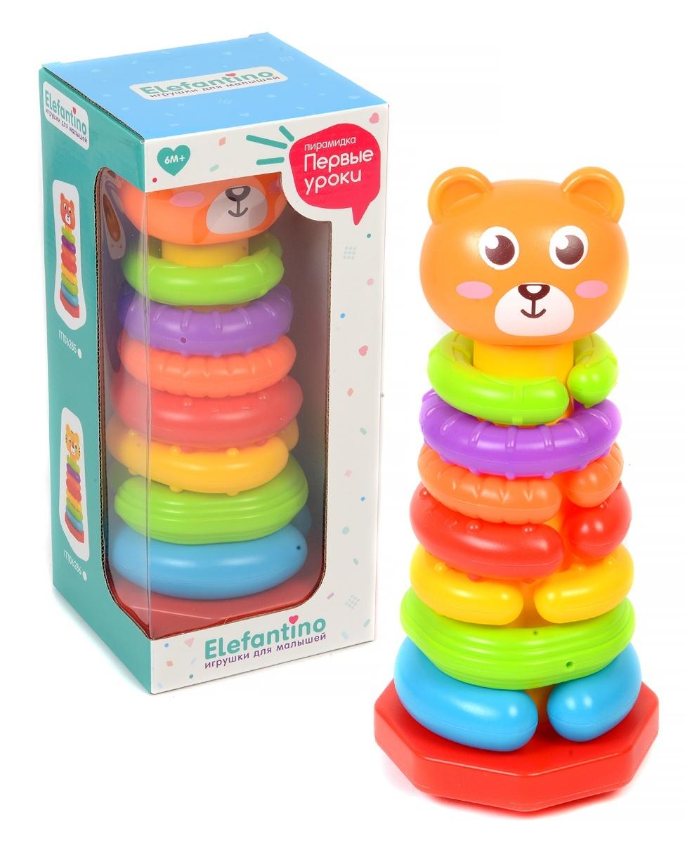 Развивающая игрушка Elefantino разные текстуры колечек, собери цепочку, в коробке