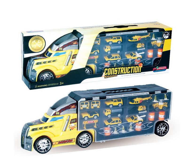 Купить LA-015A, Игрушечная машинка Junfa Автовоз с металлическими машинками и дорож. знаками, 56*12*18 см, Junfa toys,