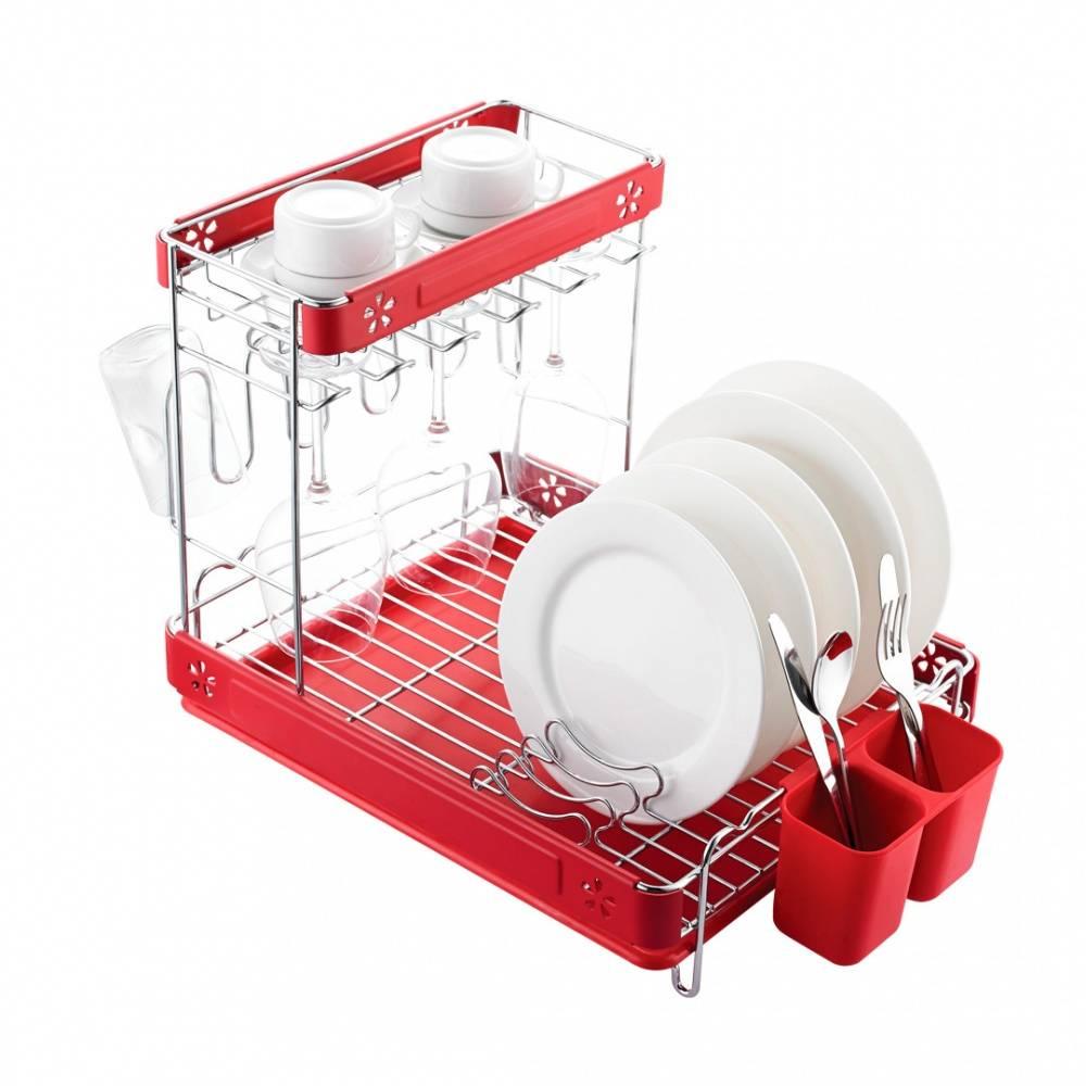 Посудосушитель настольный двухъярусный хром/красный, Lemax LF 146