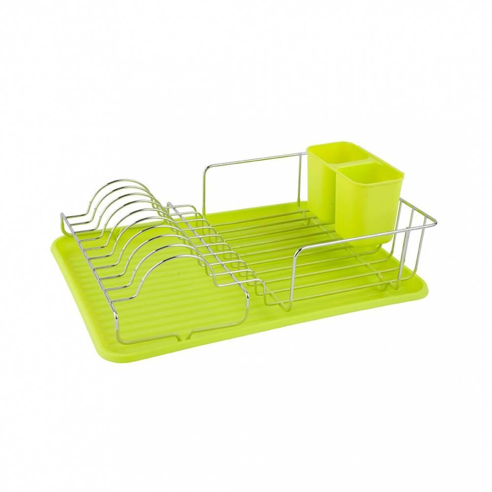 Посудосушитель настольный с поддоном хром/зеленый, Lemax