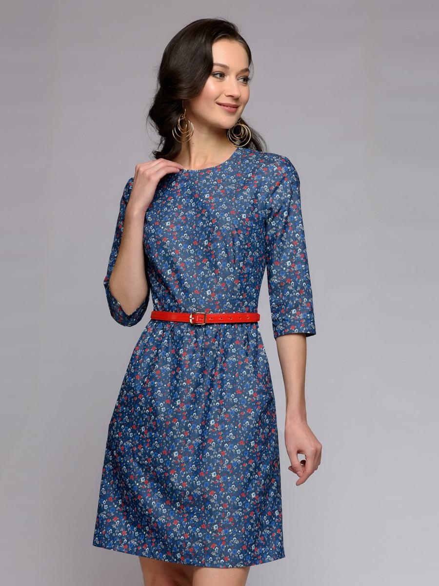 Повседневное платье женское 1001dress DM00602FL синее 44