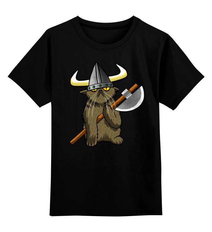 Детская футболка Printio Кот викинг цв.черный р.152 0000000782213 по цене 990