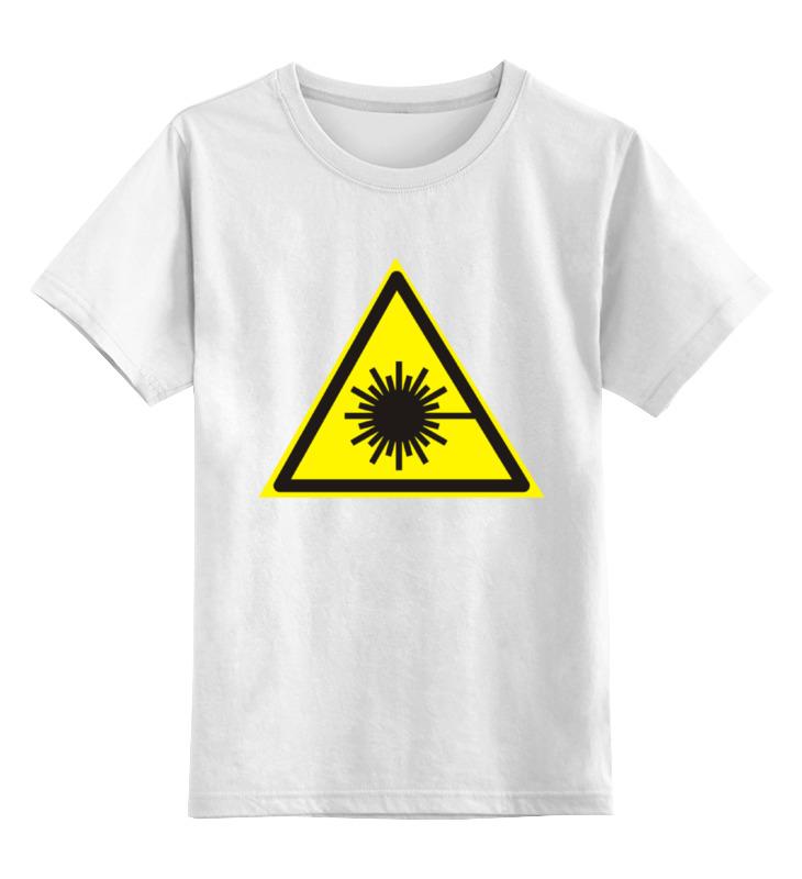Купить 0000000784045, Детская футболка Printio Осторожно излучение лазера цв.белый р.164,