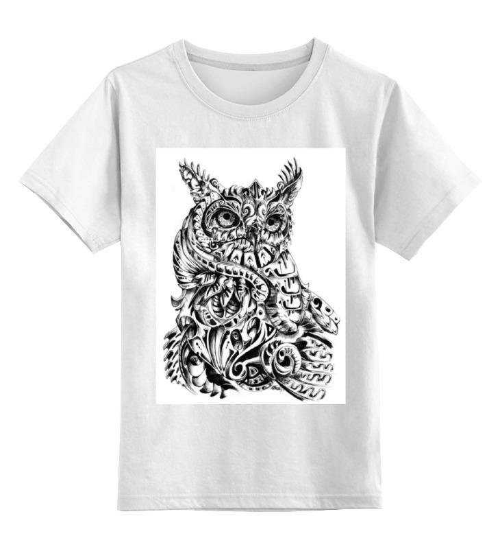 Купить 0000000783069, Детская футболка Printio Сова тату цв.белый р.164,