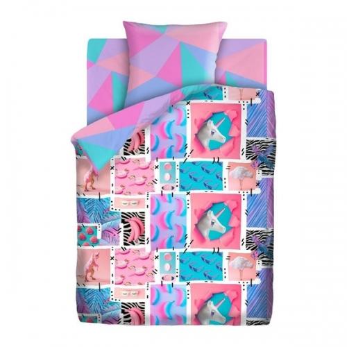 Купить Поплин, Комплект постельного белья Тейковский ХБК 4 YOU (50х70) Ультрафиолет 1, 5-спальный,