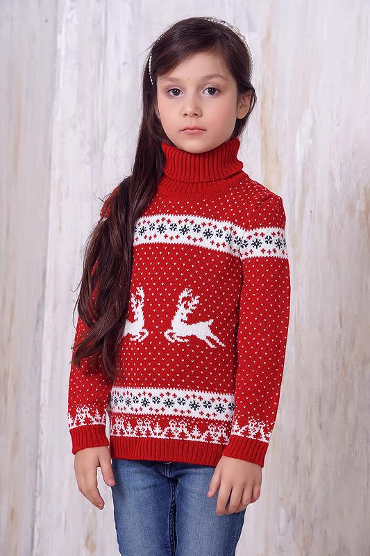 Джемпер для девочек 6139 ВЕСНУШКИ цв.красный р.92