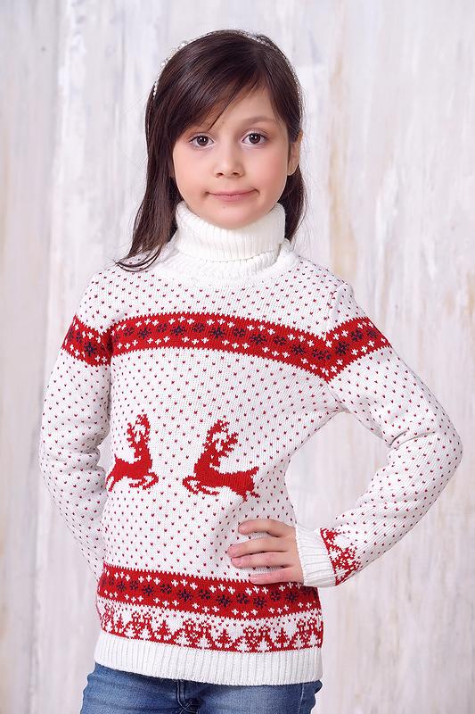 Джемпер для девочек 6139 ВЕСНУШКИ цв.белый р.92