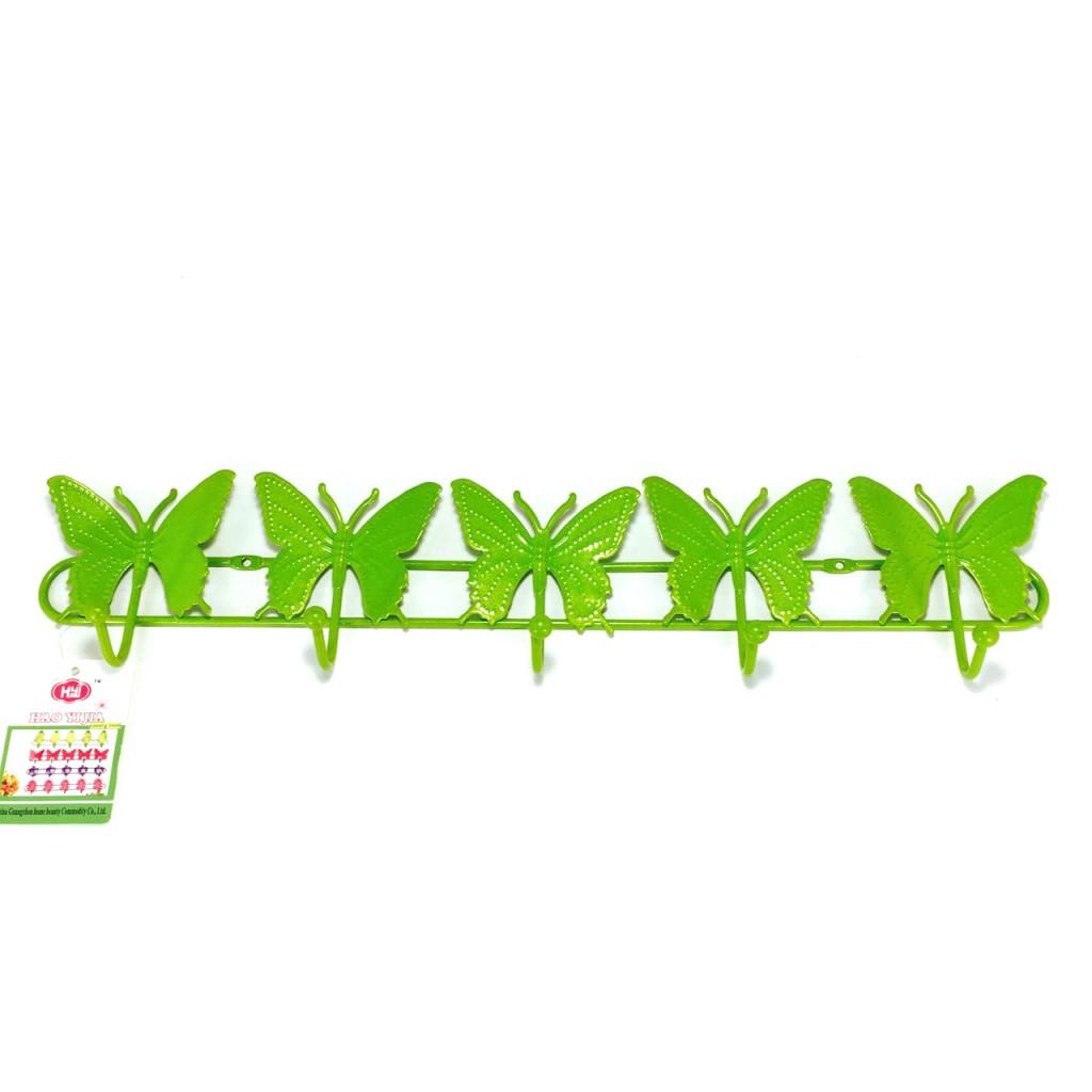 Настенная на 5 крючков БАБОЧКИ (Цвет: Зелёный
