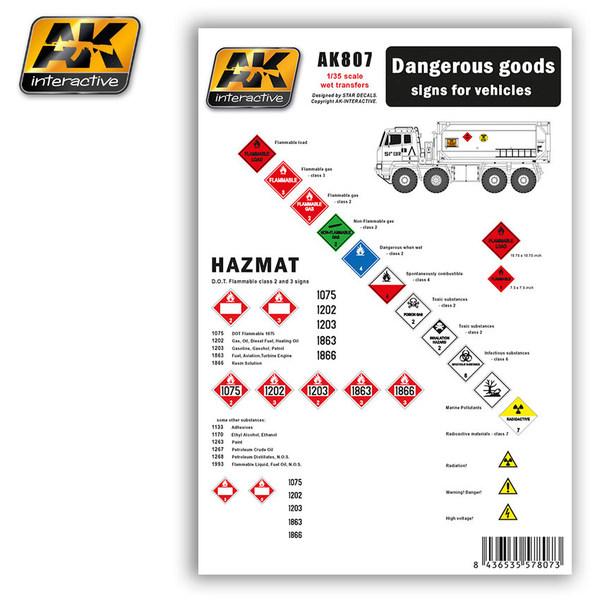 Купить Набор декалей AK Interactive DANGEROUS GOODS SIGNS FOR VEHICLES,