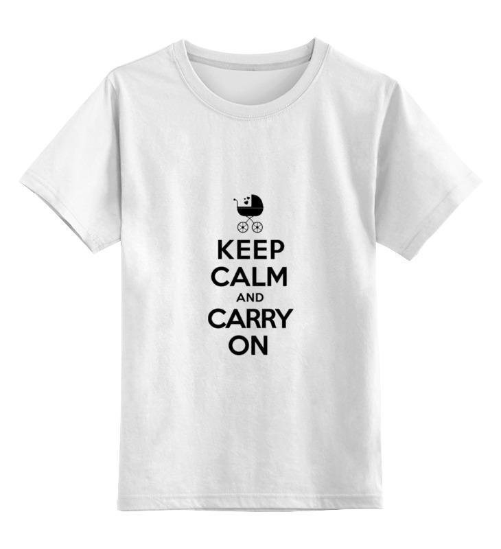 Купить 0000000771611, Детская футболка Printio Keep calm & carry on цв.белый р.164,