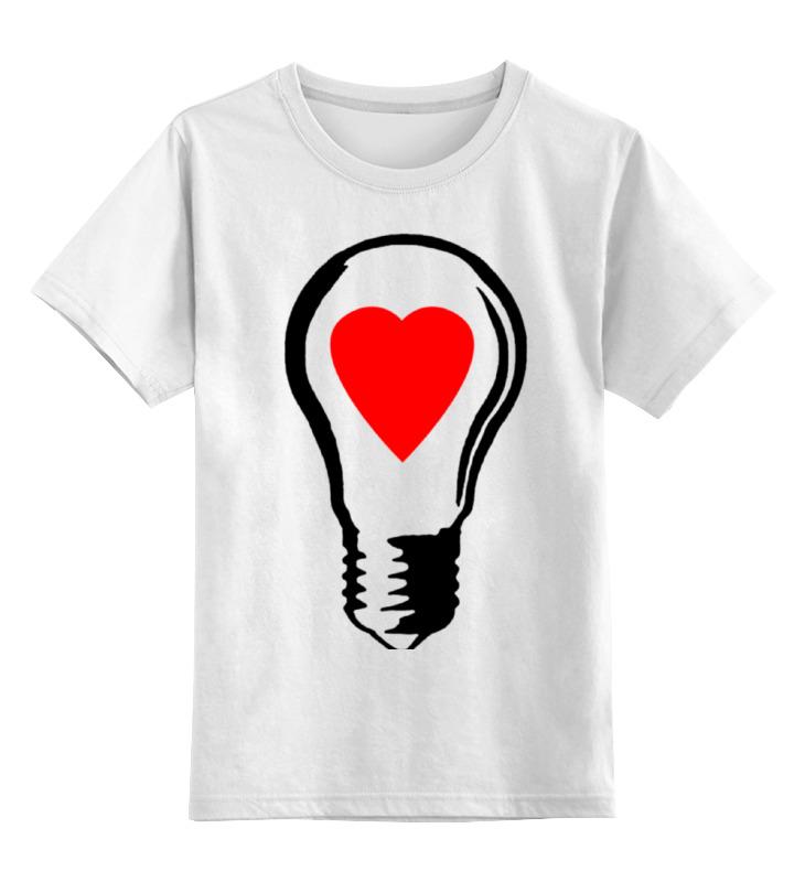 Купить 0000000770687, Детская футболка Printio Big lamp! switch on your love! цв.белый р.164,
