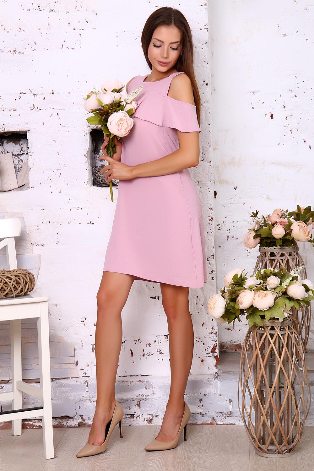 Платье женское Миллена Шарм 10346 розовое 44 RU