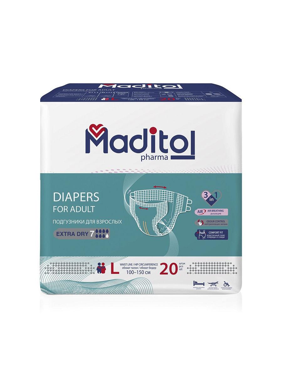 Подгузники для взрослых Maditol размер L обхват
