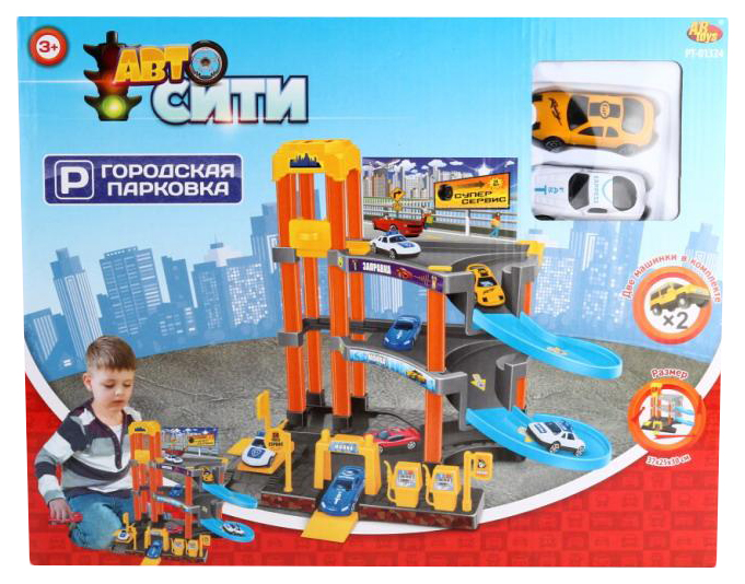 Купить Парковка Junfa Toys АвтоСити 3-х уровневая с лифтом, в наборе с машинками,