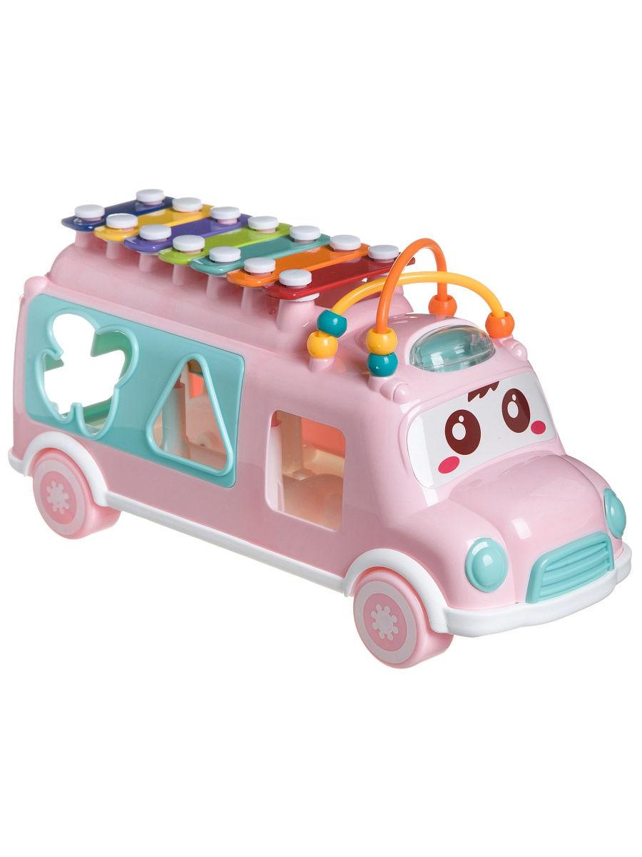 Игрушка сортер Автобус с ксилофоном, розовый Bondibon