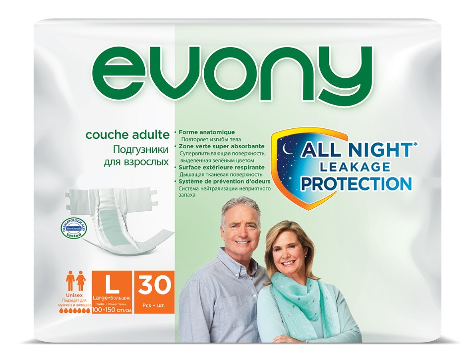 Купить Подгузники для взрослых Evony №3 р-р L талия 100-150 см 30 шт/уп