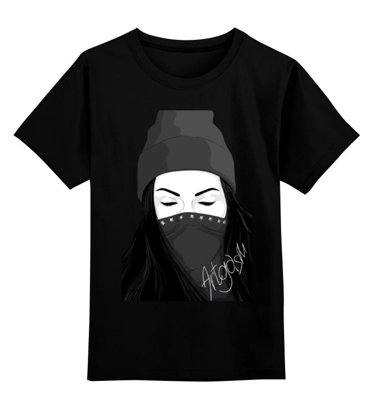 Купить 0000000770533, Детская футболка Printio Девушка artgasm цв.черный р.128,