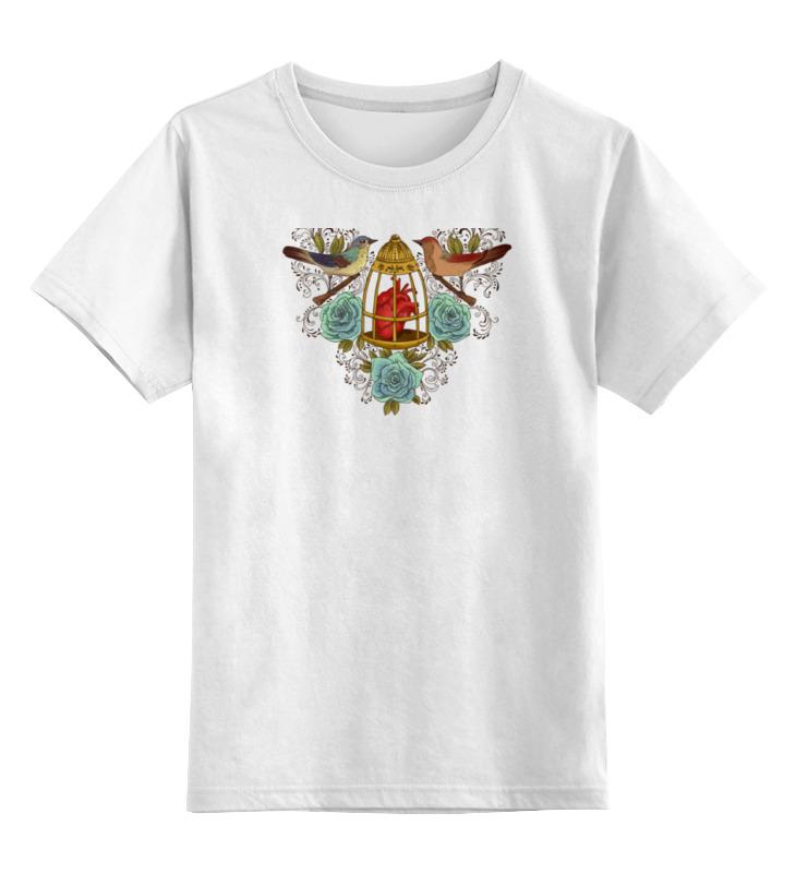 Купить 0000000768249, Детская футболка Printio Сердце в клетке цв.белый р.128,