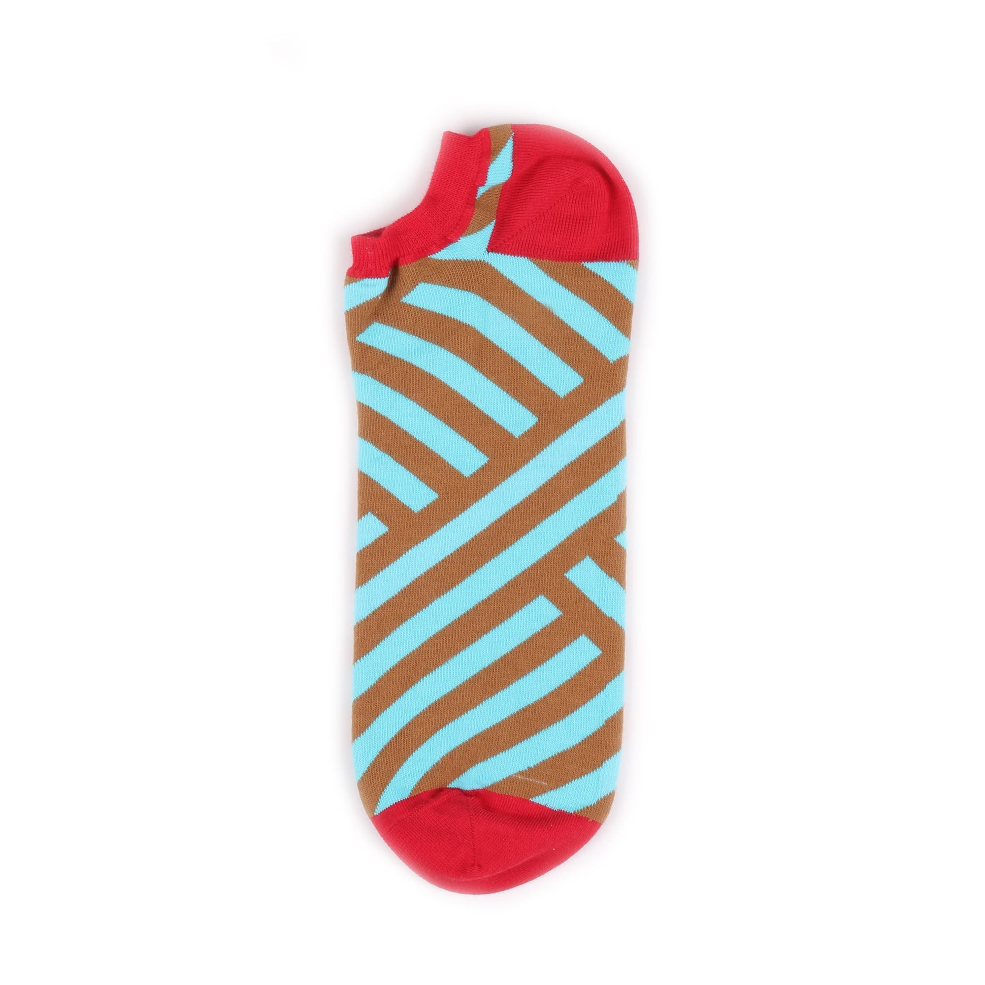 Носки унисекс Burning heels BHAnkleStripe_Brown_Blue голубые 36-38 RU