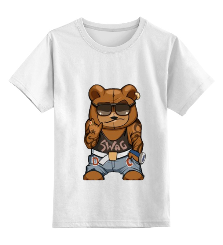 Детская футболка Printio Swag мишка цв.белый р.140 0000000782454 по цене 790