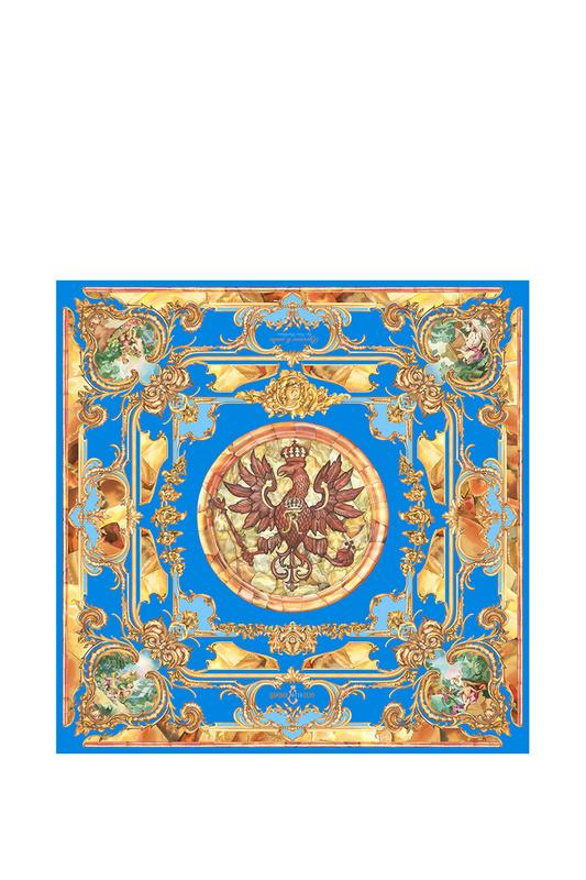 Платок женский РУССКИЕ В МОДЕ 0110 синий, 90х90 см