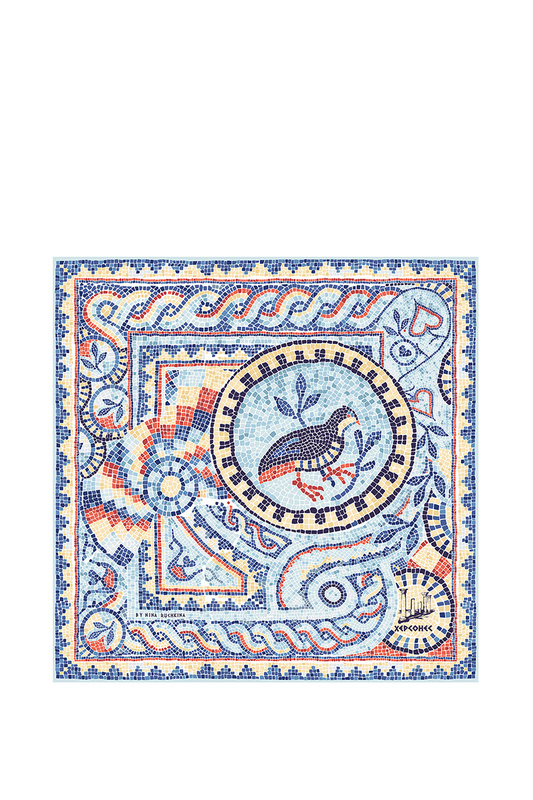 Платок женский РУССКИЕ В МОДЕ 0141 голубой, 90х90 см