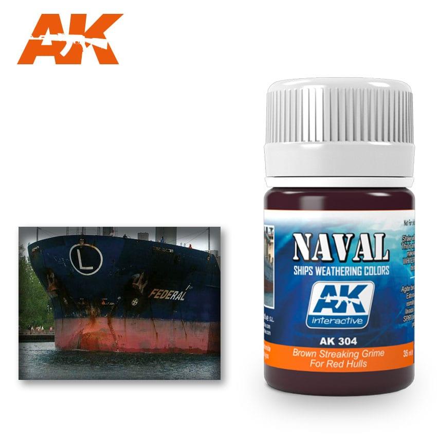 Купить Жидкость для нанесения эффектов AK Interactive BROWN STREAKING GRIME FOR RED HULLS,