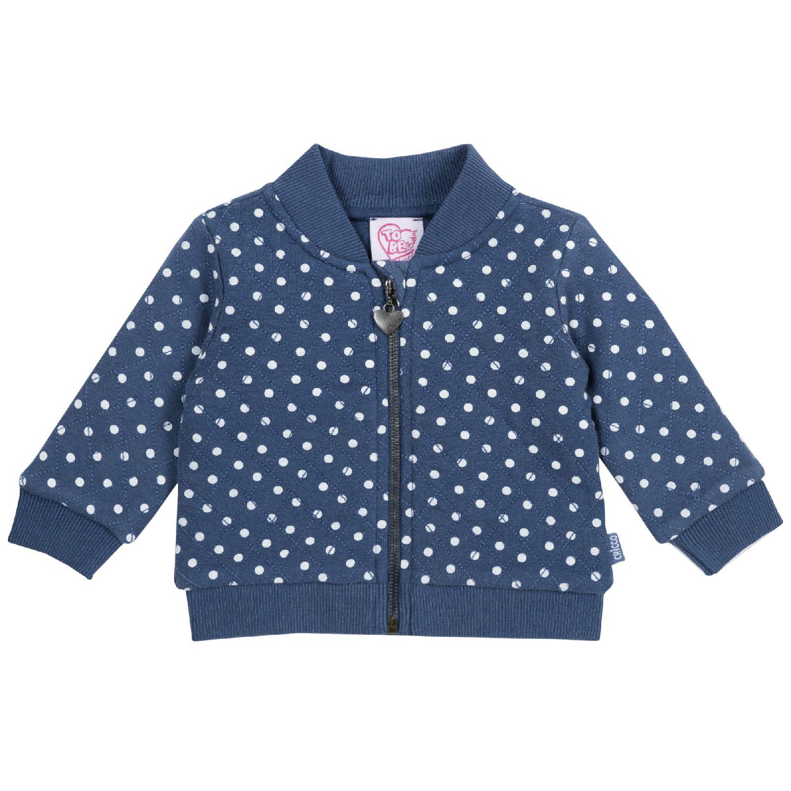 Купить 909666785, Толстовка Chicco р.104 цвет синий в белый горох, Толстовки для девочек